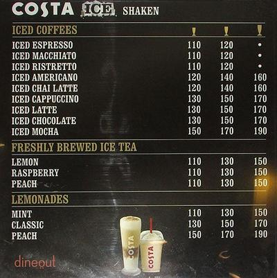 Costa Coffee Menu