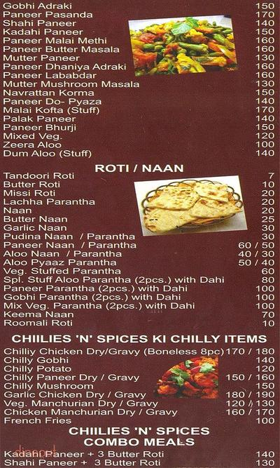 Chillies 'n' Spices Menu 2