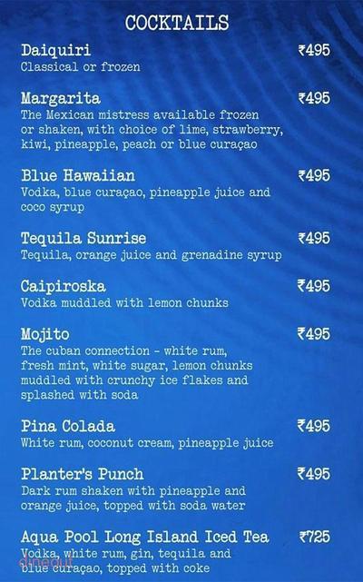 Aqua Bar - The Grand New Delhi Menu 3