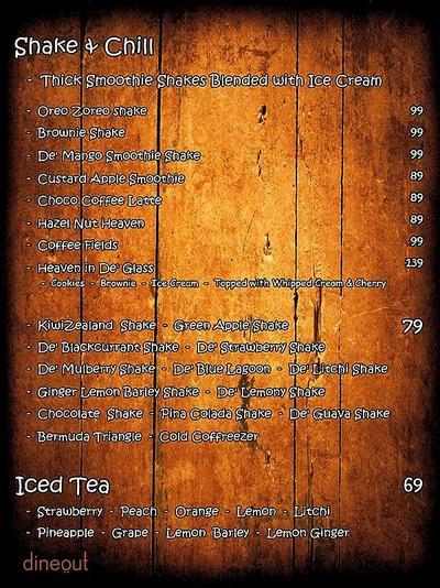 De' Kettle Cafe Menu 1