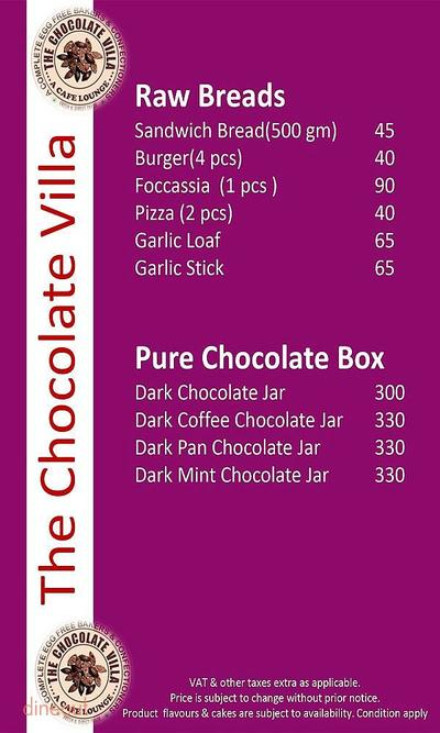 The Chocolate Villa Menu 7