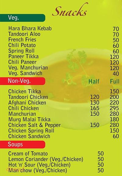 Nirvaanam Hotel & Restaurant Menu