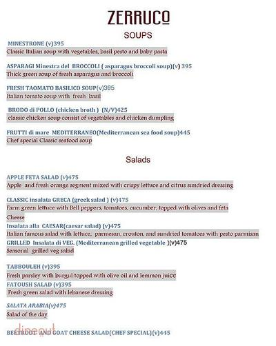 Zerruco Kitchen And Bar - The Ashok Menu