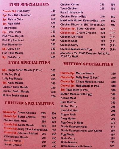 Chawla Restaurant Menu 2