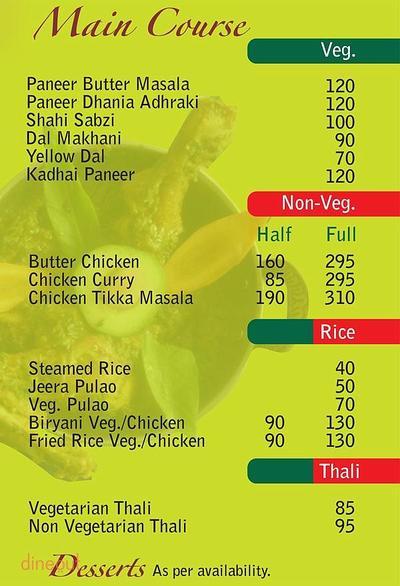 Nirvaanam Hotel & Restaurant Menu 1