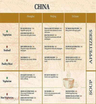 Shanghai Club - WelcomHotel Dwarka Menu