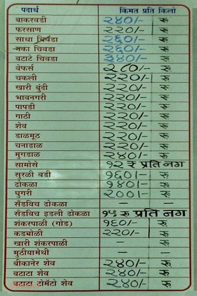 Chitale Bandhu Mithaiwale Menu 2