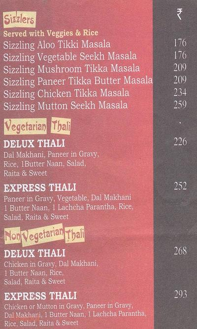 Moti Mahal Express Menu