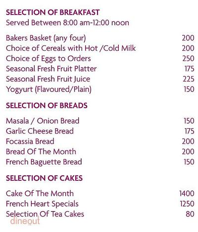 French Heart - The Pastry Lounge - Crowne Plaza Today New Delhi Okhla Menu