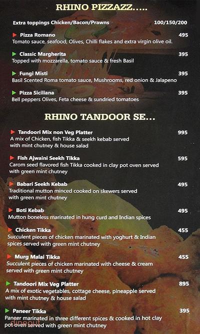 Club Rhino Menu 12