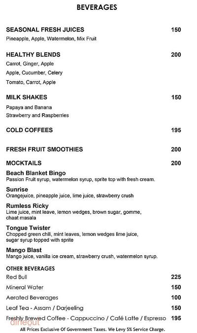 Axis - The Galaxy Hotel Menu 5