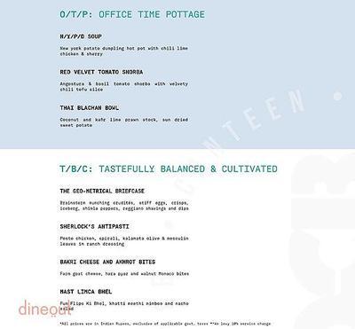Office Canteen Bar Menu 1