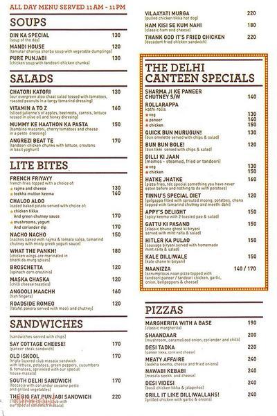 The Delhi Canteen Menu
