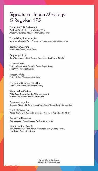 Ardor 2.1 Restaurant & Lounge Menu 18