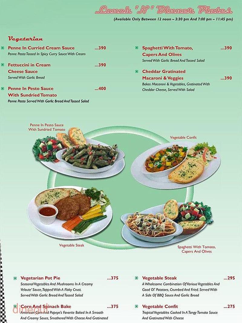 Menu of the all american diner lodhi road delhi for American cuisine menu