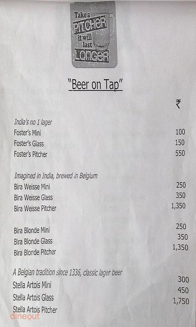 The Pint Room Menu 2