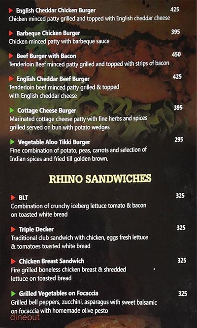 Club Rhino Menu 11
