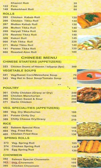 Saleem's Restaurant Menu 2