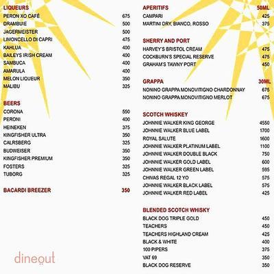 Entresol Bar - Le Meridien Menu 2
