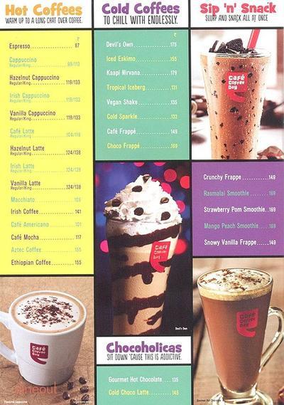 Cafe Coffee Day Menu 1