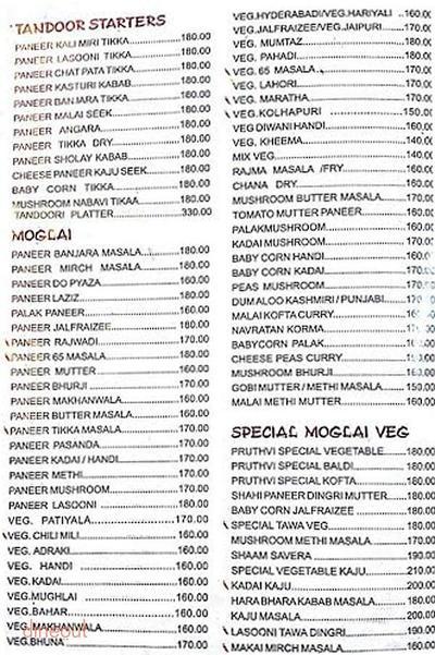 Pruthvi Vegetarianism Menu 4