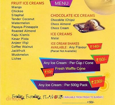 Natural Ice Cream Menu