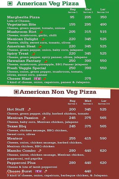 U.S. Pizza Menu
