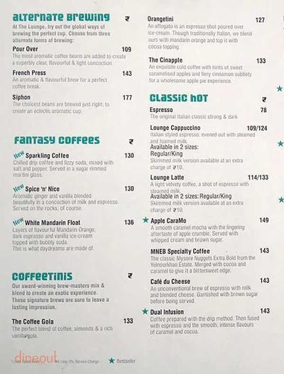 Cafe Coffee Day The Lounge Menu