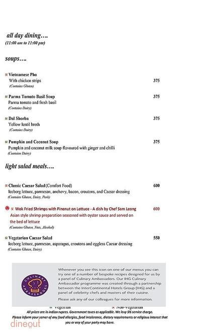 Mosaic - Crowne Plaza Menu