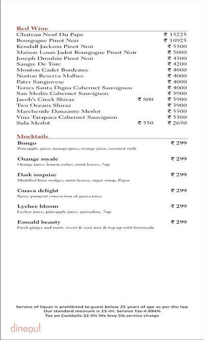 Scarlet Bar - Radisson Blu Hotel, Greater Noida Menu 4