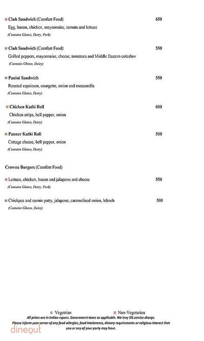 Mosaic - Crowne Plaza Menu 2