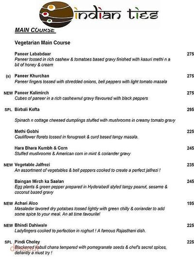Indian Ties - The E-Square Hotel Menu 3
