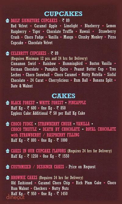 The CUP n CAKE Factory Menu