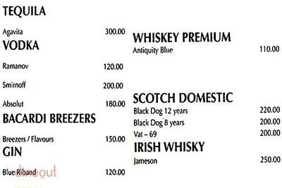 Shamrock - The Irish Bar Menu 1
