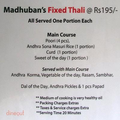 Madhuban - Sattvic South Indian Restaurant Menu 5